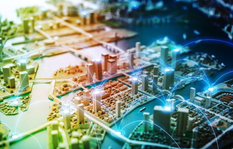 Smart city and communication network concept. abstract mixed media.